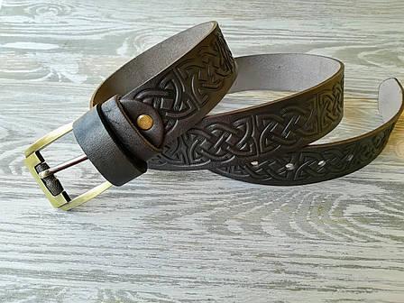 Кожаный ремень темно-коричневый кельтский узел 37 мм, фото 2