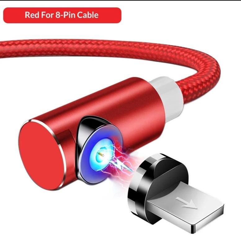 Кабель магнитный с подсветкой TOPK для Iphone 1 метр угловой 90° в оплетке для зарядки. Красный