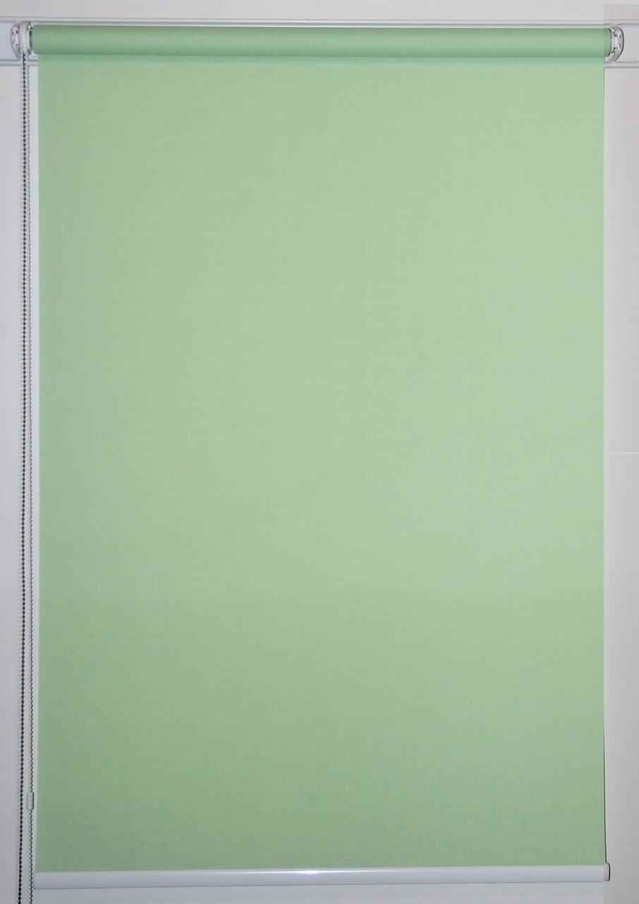 Рулонная штора 525*1500 Ткань Лён 2073 Зелёный