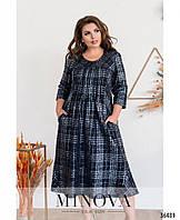 Повседневное платье в клетку с расклешенным подолом с 52 по 64 размер, фото 1