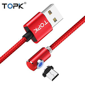 Кабель магнитный с подсветкой TOPK Micro USB1 метр угловой 90° в оплетке для зарядки. Красный
