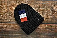 Шапка мужская зимняя Томи Хилфигер вязаная черная теплая