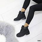 Женские зимние ботинки черного цвета, эко кожа (под нубук) 36 ПОСЛЕДНИЙ РАЗМЕР, фото 3