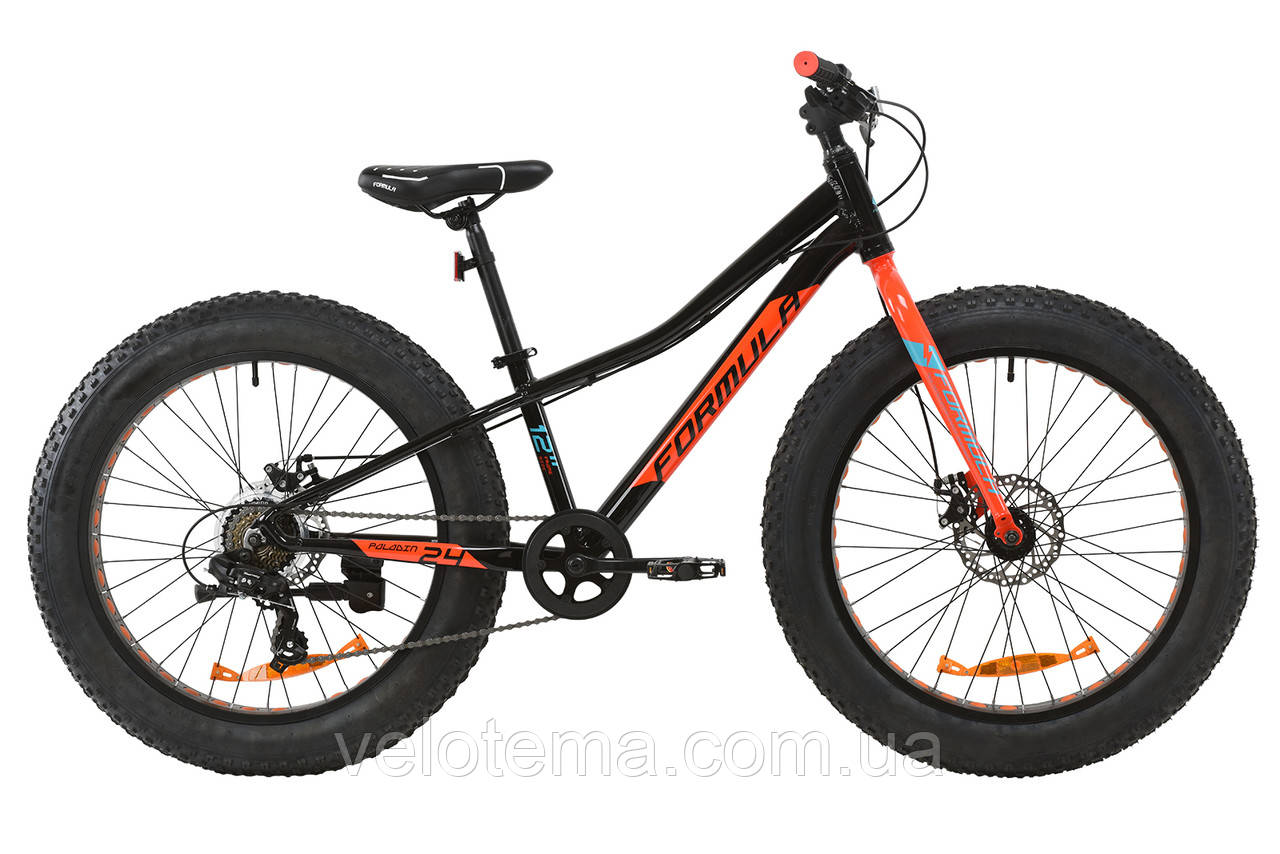 """Велосипед AL 24"""" Formula PALADIN DD рама-12"""" черно-красный с бирюзовым 2020"""