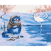 Картина по номерам Идейка Зимняя рыбалка 50х40 (KHO4084)