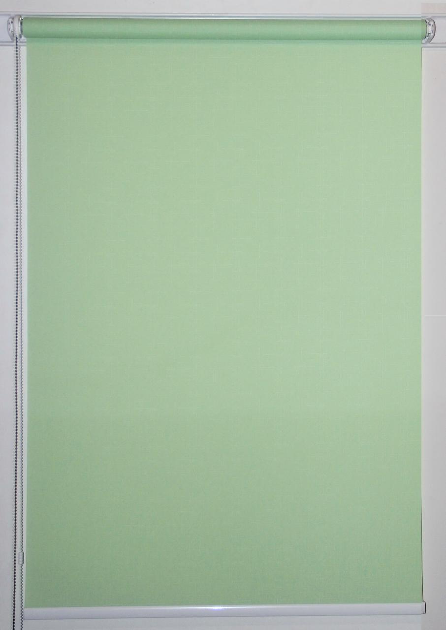 Рулонная штора 900*1500 Ткань Лён 2073 Зелёный