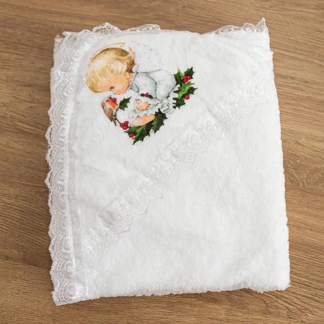 Крыжма полотенце с кружевом Ангелочек