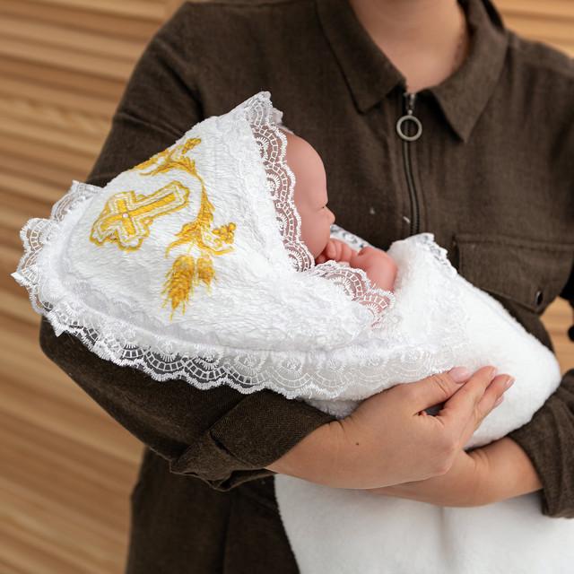 Крыжма полотенце с капюшоном и крестиком