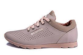 Мужские кожаные летние кроссовки, перфорация Columbia Latte р. 40 42