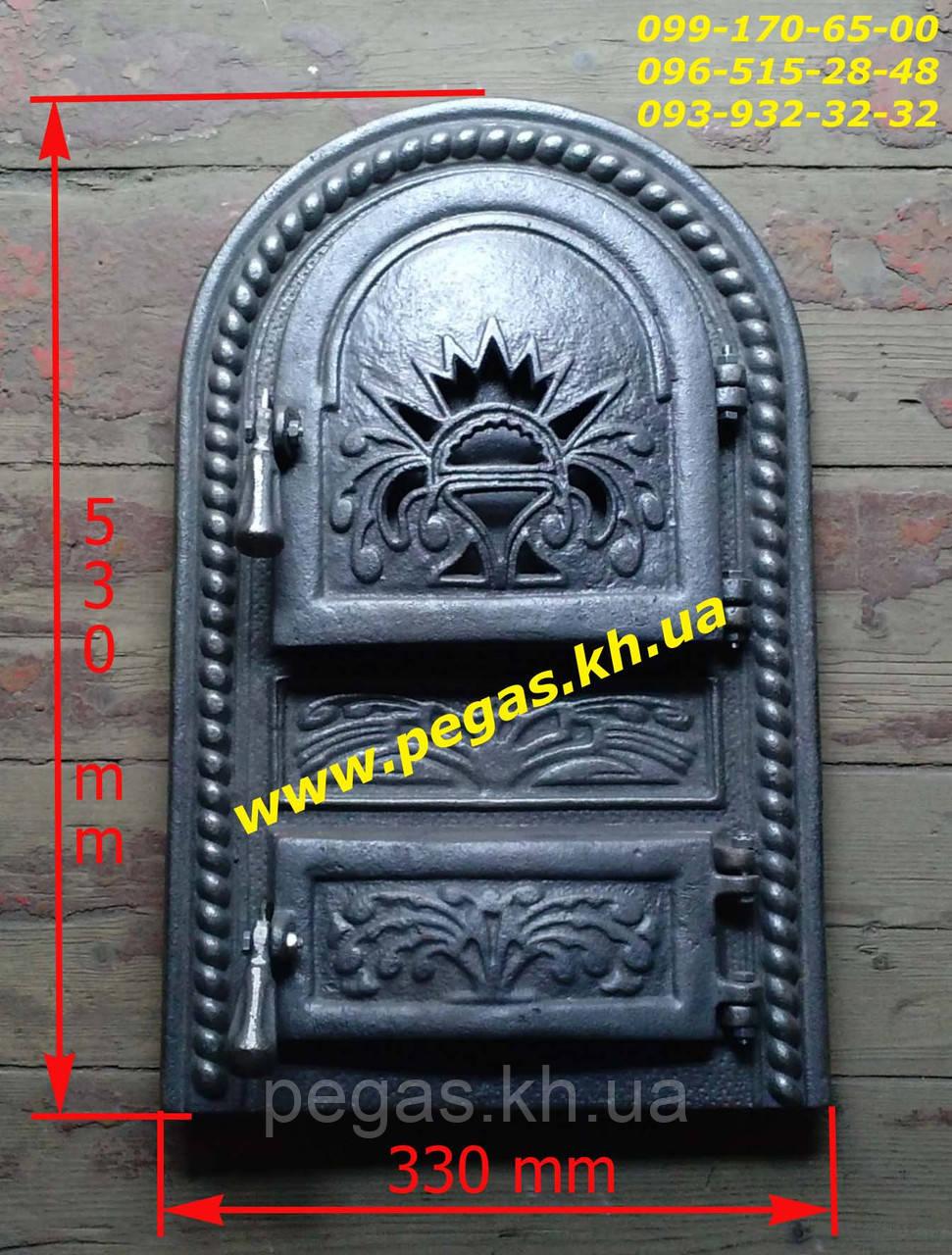 Дверка чугунная (Румынская №2) 330х530 мм, грубу, печи, барбекю, мангал