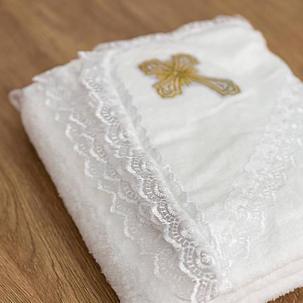 Крижмо для хрещення з капюшоном і хрестиком, фото 2