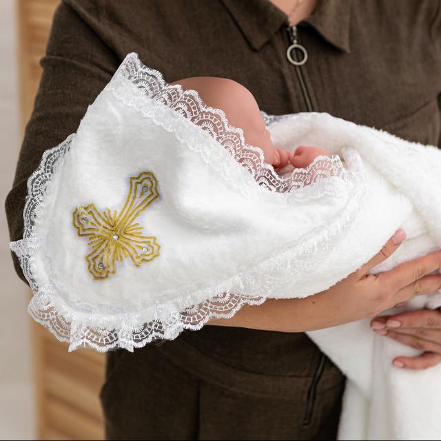 Крыжма для крещения с капюшоном и крестиком
