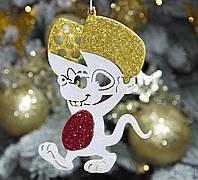 """Мышка на елку игрушка новогодняя """"Мышонок любитель сыра"""" высота 12 см, голубая, фото 1"""