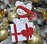 """Новогодняя игрушка на елку мышка красивая  """"Мышка на подарке"""" размер 12 см"""