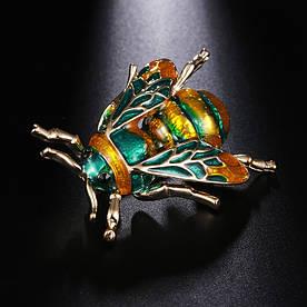 Брошь Пчела Зеленая Металлическая 3.5*2.6 см