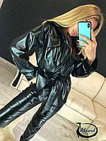 Женский кожаный брючный костюм с рубашкой 38KO343