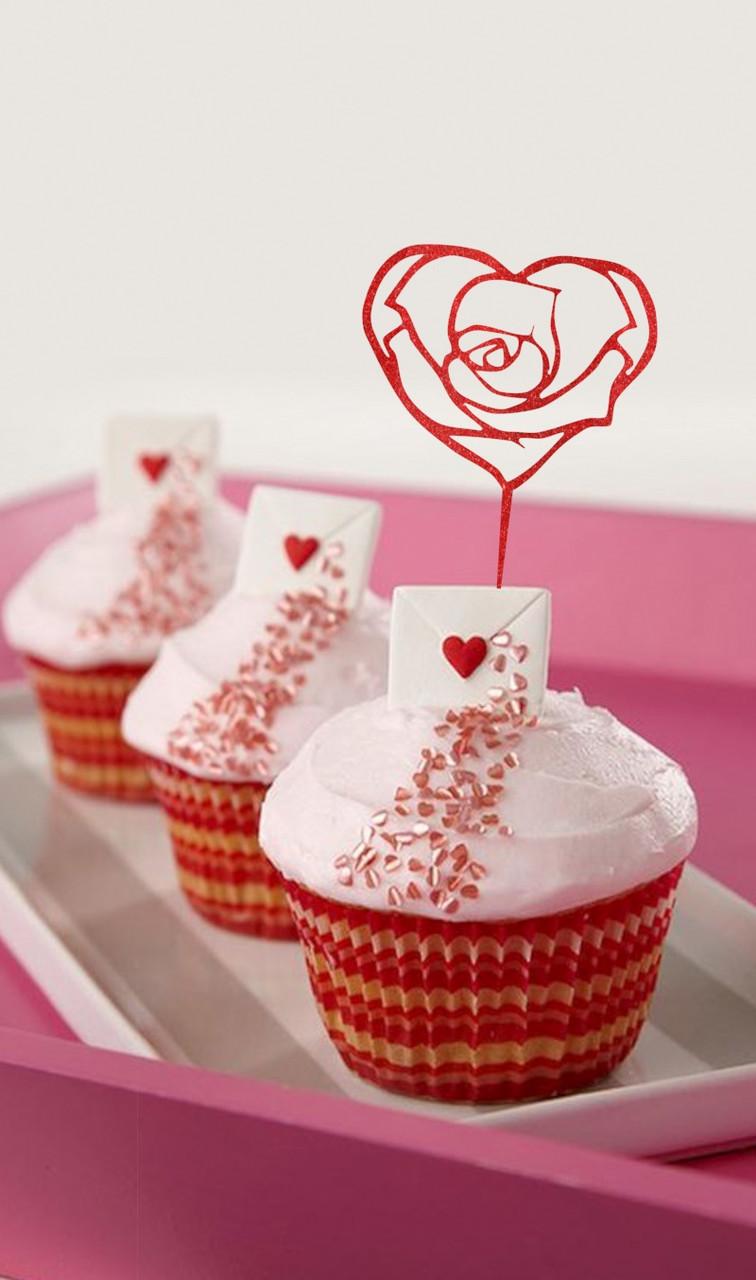 Топпер для кап-кейков Сердце в форме розы