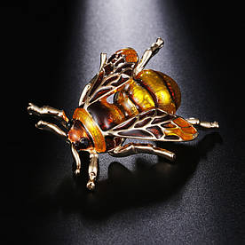 Брошь Пчела Желтая Металлическая 3.5*2.6 см