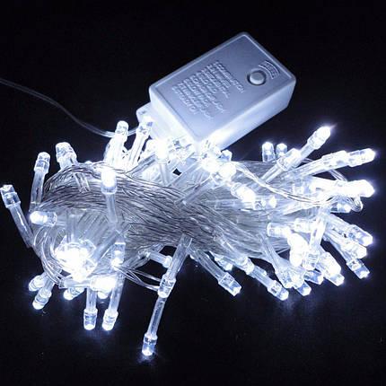 Новогодняя гирлянда нить Xmas 100 LED ламп белого свечения (прозрачный провод, 10 метров), фото 2