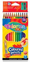 Карандаши цветные треугольные и точилка, 12 цветов, Colorino (54706PTR)