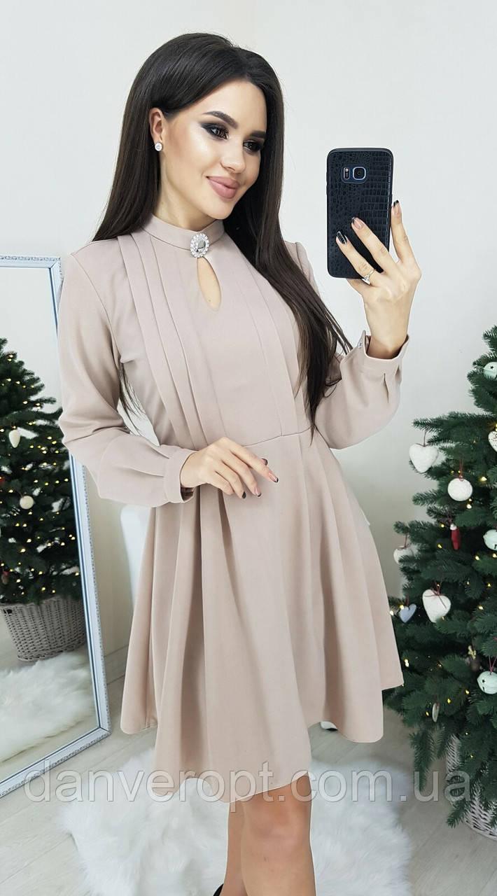 Платье женское модное стильное с брошью размер 42-48 купить оптом со склада 7км Одесса