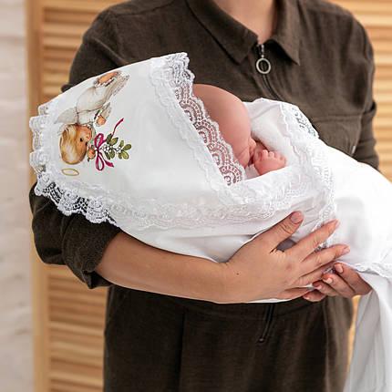 Крижмо для хрестин з малюнком Янголятко бязь, фото 2