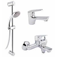 Набір змішувачів для умивальника, ванни та душова стійка Q-tap Set CRM 35-111