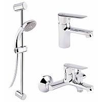 Набір змішувачів для умивальника, ванни та душова стійка Q-tap Set CRM 35-211