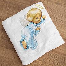 Крижмо плед для хлопчика з малюнком Янголятко мікрофібра, фото 3