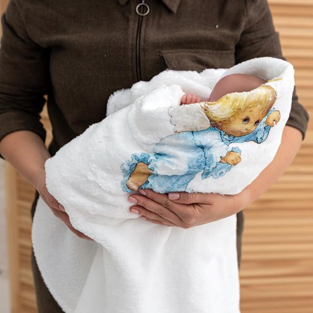 Крыжма плед для мальчика с рисунком Ангелочек микрофибра