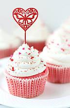 Топпер для кап-кейков Сердце с бабочкой