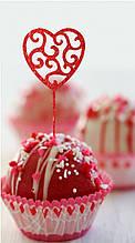 Топпер для кап-кейков Сердце с завитками