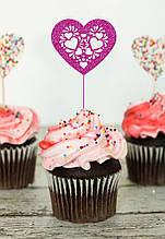 Топпер для кап-кейков Сердце в сердцах