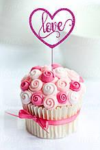 Топпер для кап-кейков Сердце с надписью Love