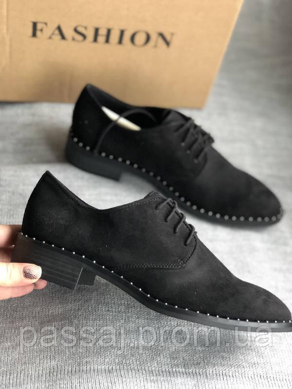 Черные туфли на маленьком каблуке бренд Esprit