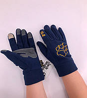 Зимові рукавиці флісові Jack Wolfskin Dark Blue з малюнком