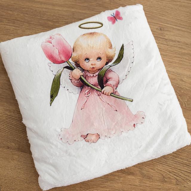 Крыжма плед для девочки с рисунком Ангелочек микрофибра