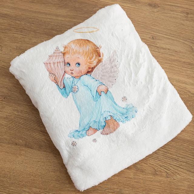 Крыжма для мальчика с рисунком Ангелочек микрофибра