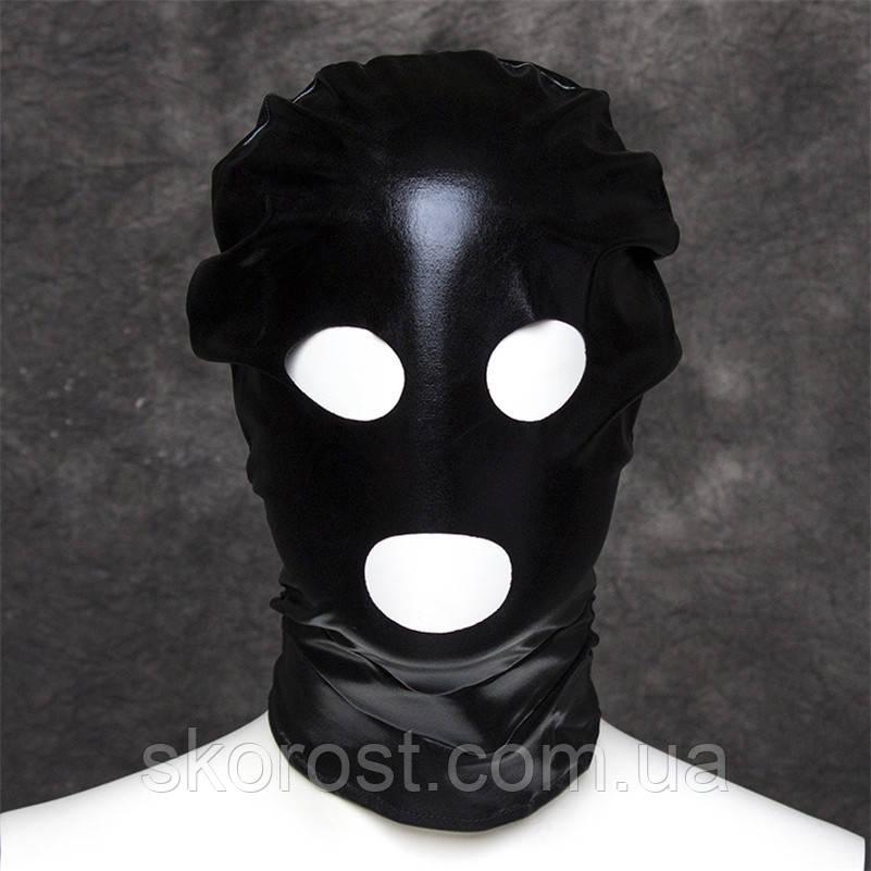 Маска виниловая черная BDSM с прорезями для глаз