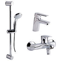 Набір змішувачів для умивальника, ванни та душова стійка Q-tap Set CRM 35-311