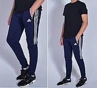 Мужские спортивные штаны на манжетахAdidas(Адидас), Трикотаж двухнитка, Размеры 46-52 - темно синие