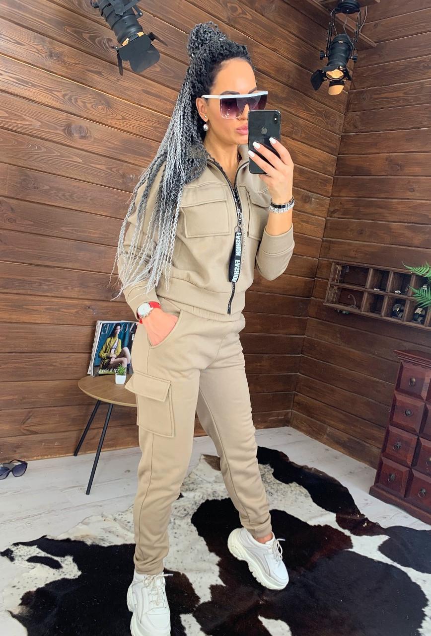 Женский утепленный спортивный костюм с бомбером на молнии 44so815