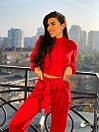 Женский ангоровый костюм с укороченной кофтой и широкими брюками 72ks345, фото 3