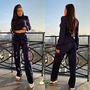 Женский ангоровый костюм с укороченной кофтой и широкими брюками 72ks345, фото 4