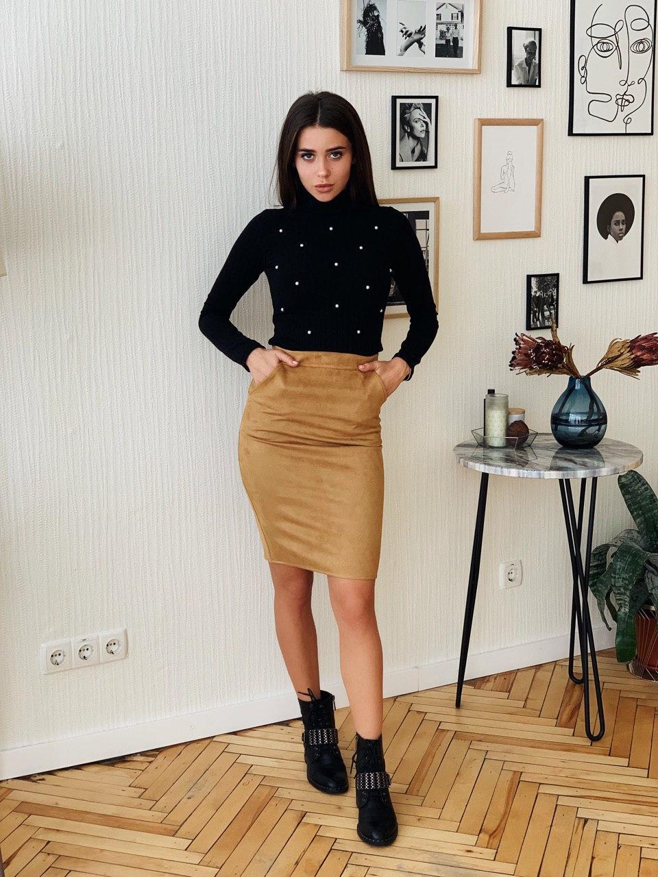 Замшевая юбка - карандаш с карманами 4si1332