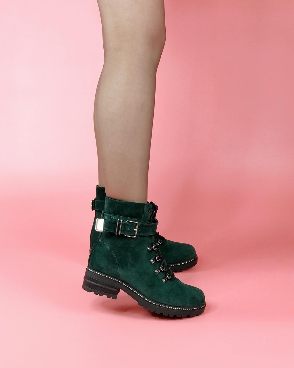 Ботинки женские замшевые зеленый на шнурках с ремнем MORENTO зимние