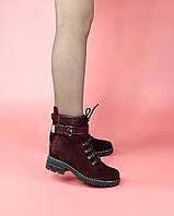 Женские ботинки BR4-137 MORENTO (бордовые, натуральная замша, шерсть, зима)