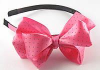 Обруч для волос с атласным бантом 12 см розовый