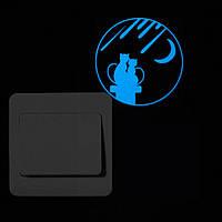 Наклейки на выключатель светящиеся в темноте Кошечки светится голубым