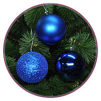 """Набор елочных шаров """"Биг 3x""""(100мм, синий, тубус)  6шт"""